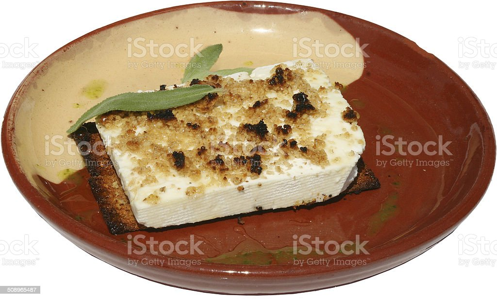Traditional salad with cheese, honey and nuts served in plate royalty-free stock photo