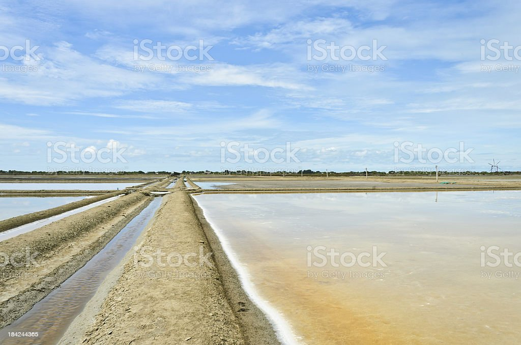 Traditional salt evaporation ponds stock photo