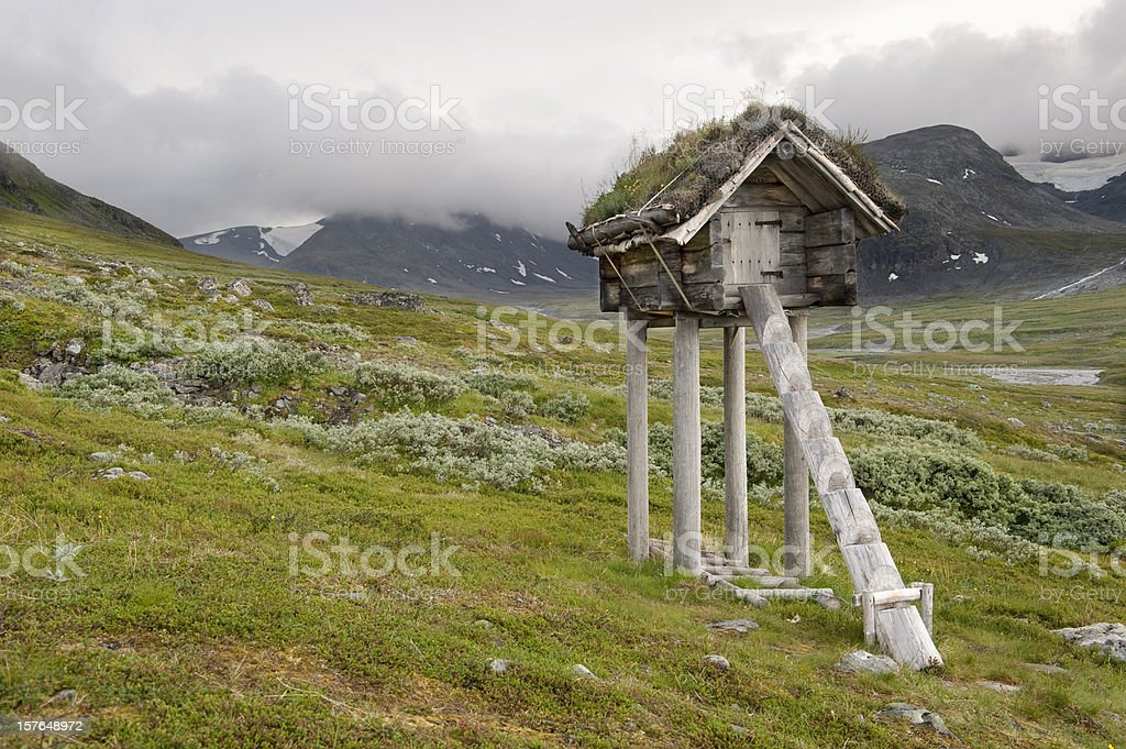 Traditional sami (lapp) food store, njalla or buerie stock photo