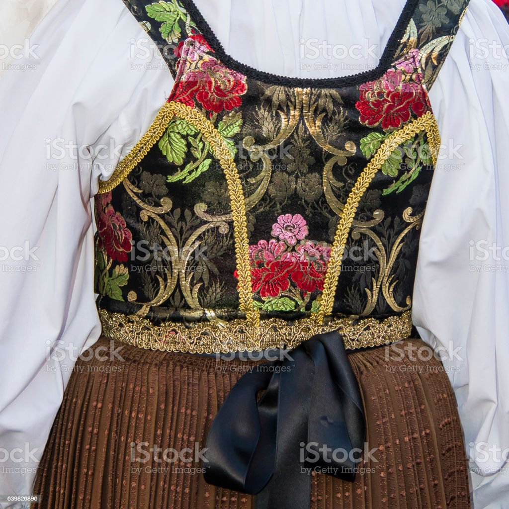 traditional Sardinian costume stock photo
