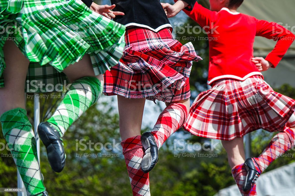 Traditional scottish Highland dancing stock photo