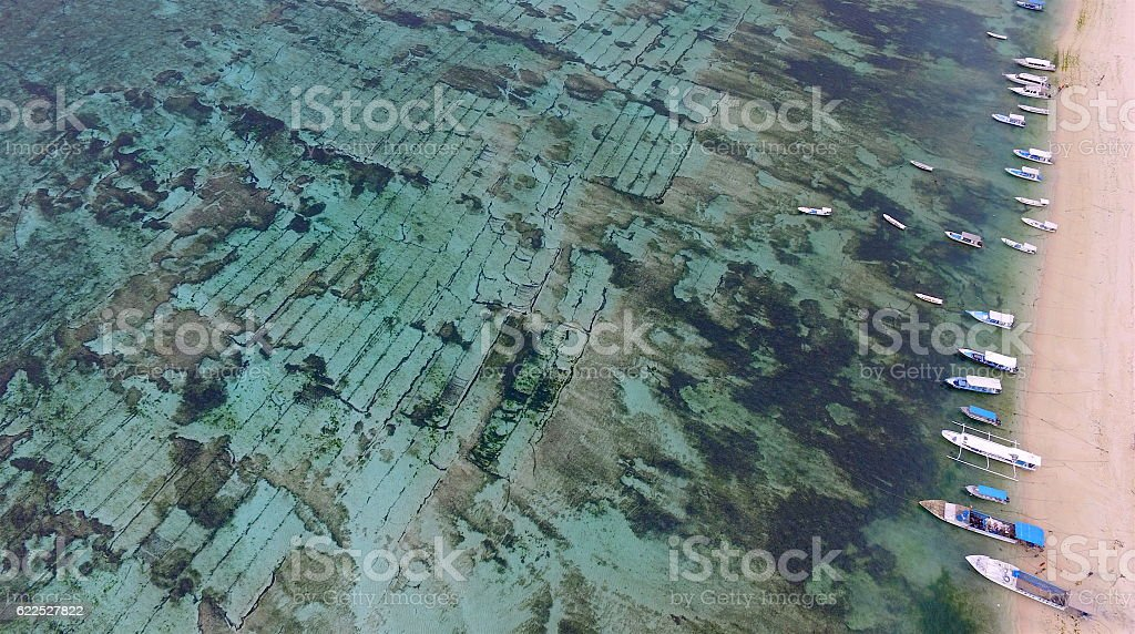 Traditional seaweed farms at Lembongan Island, Bali, Indonesia stock photo