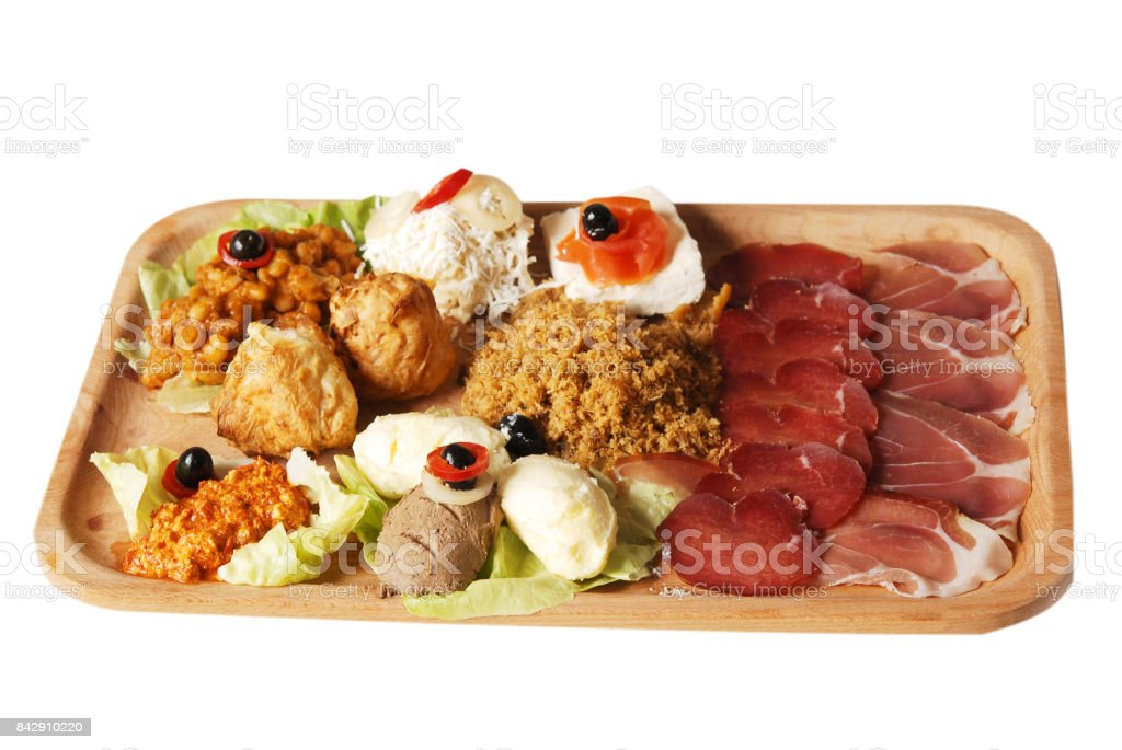 Traditional Serbian food plate with different kind of meals. Serbian hors d'oeuvre stock photo