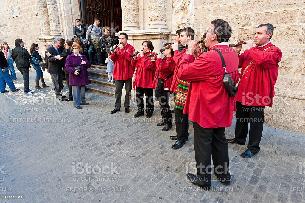 Traditional shawm band playing Valencia Spain stock photo