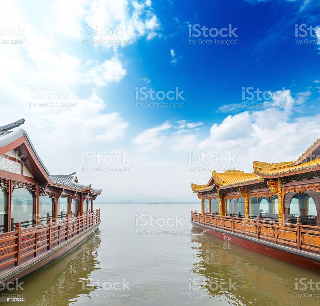 Traditional ship at the Xihu (West lake), Hangzhou, China stock photo
