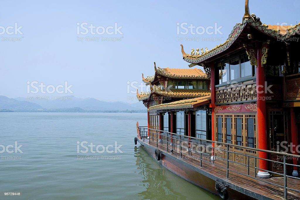 Traditional ship at the Xihu stock photo