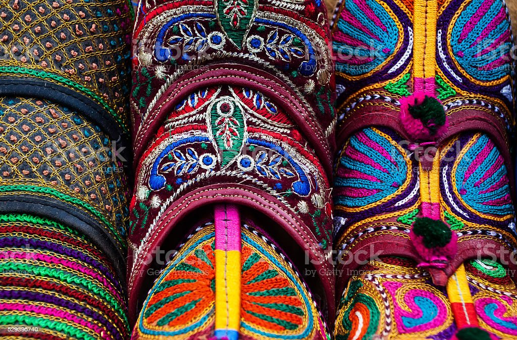 Traditional shoes of Rajasthan stock photo