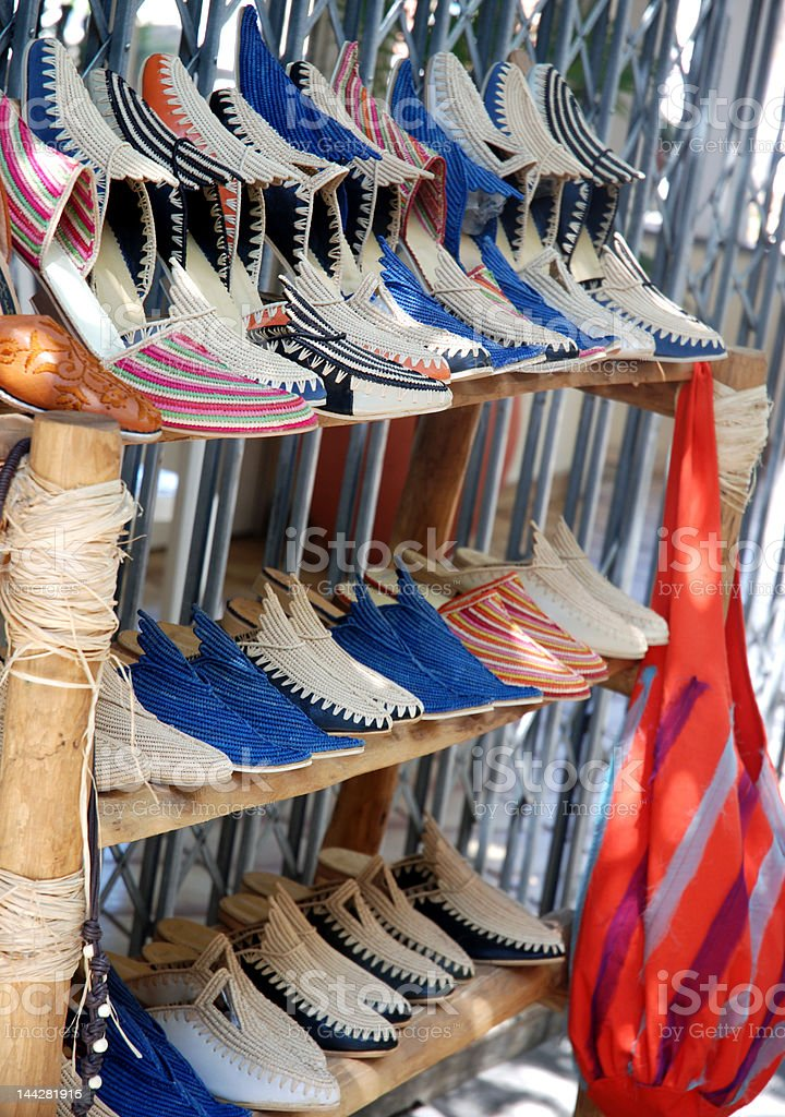 Traditional shoes shop stock photo