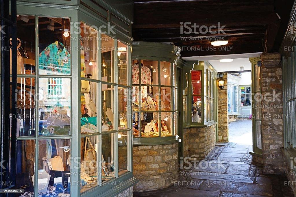 Traditional shopping arcade, Burford. stock photo