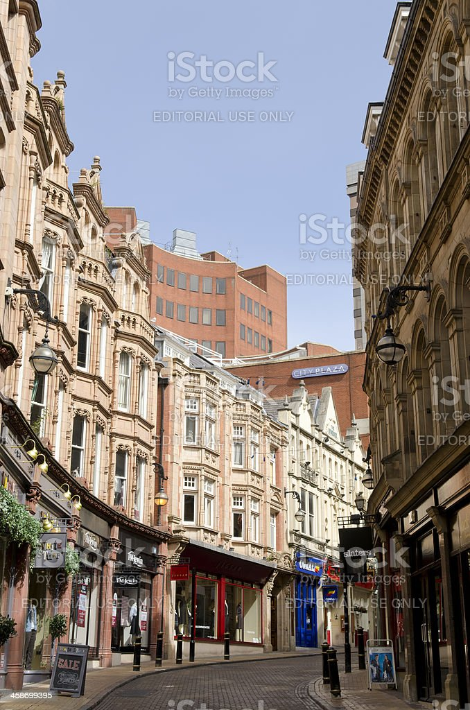 Traditional shopping street, Birmingham stock photo