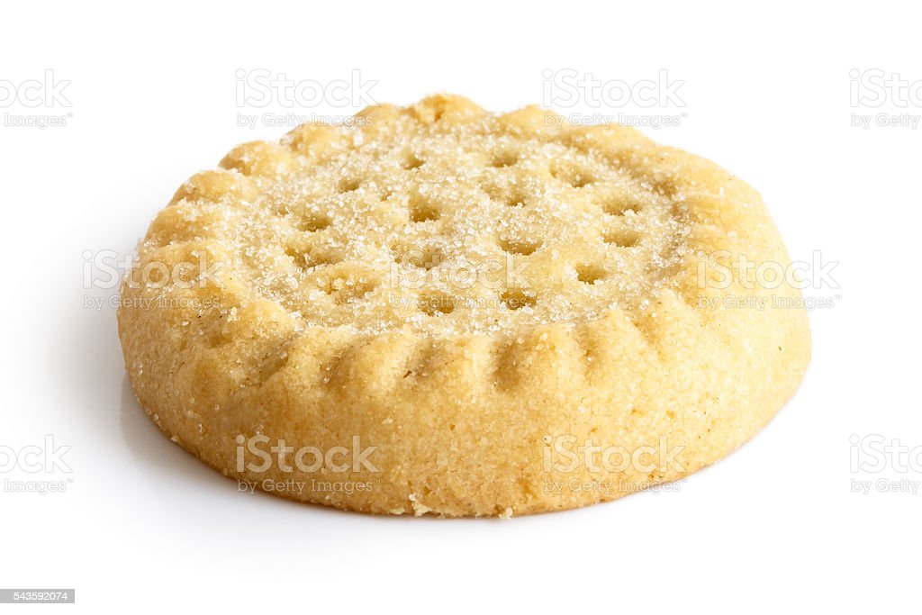 Traditional shortbread round biscuit isolated on white. stock photo