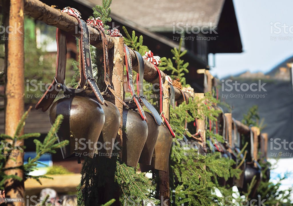 Traditional show cow bells on display during Aelplerfest stock photo