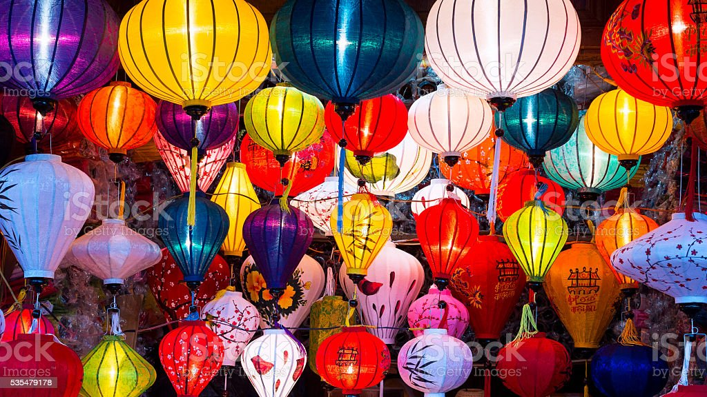 Traditional Silk Lanterns in Hoi An Ancient Town, Vietnam stock photo