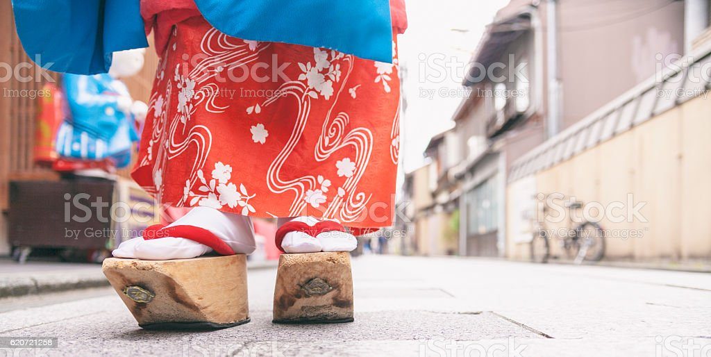 Traditional Slippers for Geisha stock photo