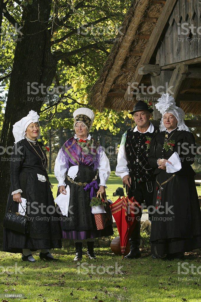Traditional slovene folk people stock photo