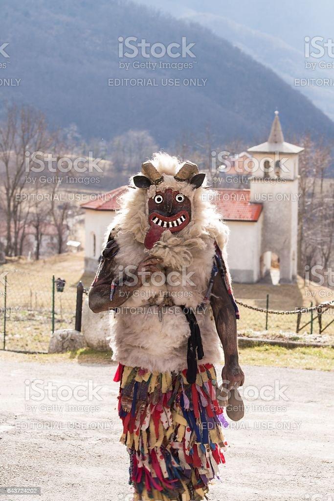 Traditional Slovenian Carnival at Drezniske Ravne stock photo