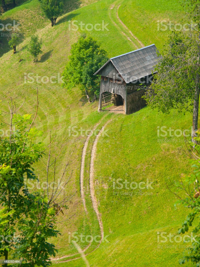 Traditional Slovenian mountain landscape stock photo