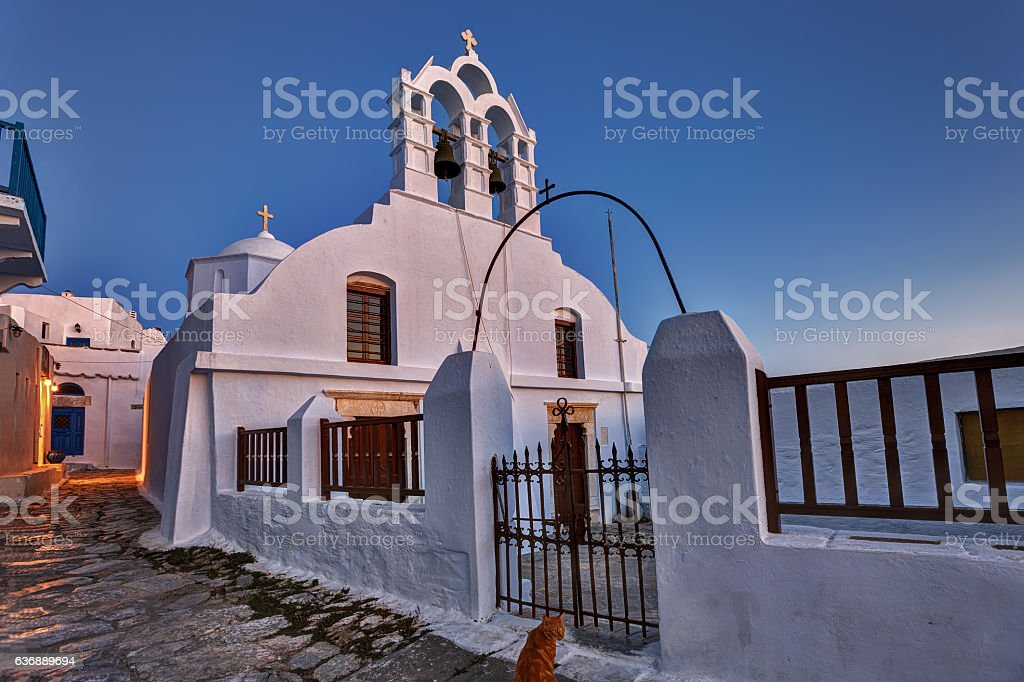 Traditional small Greek Church in Chora, Amorgos island stock photo
