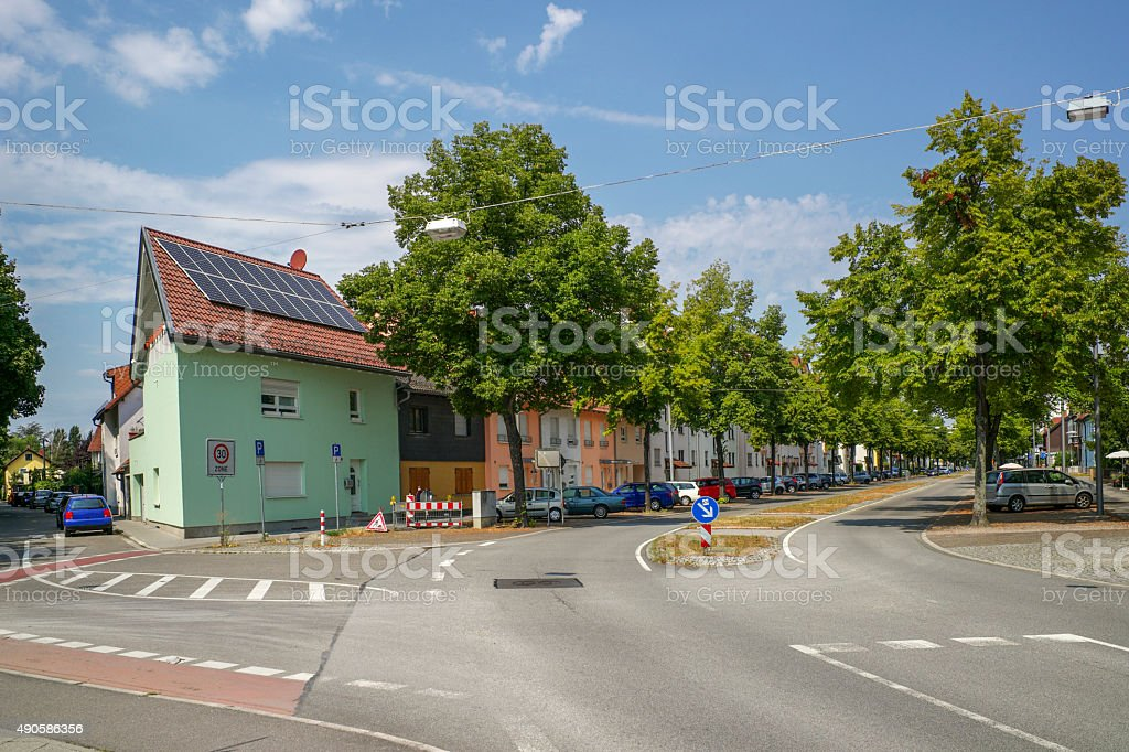 traditional small village houses at speyer germany stock photo