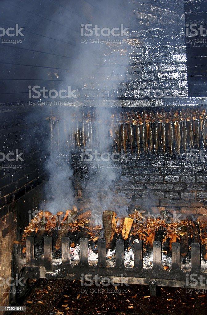 Traditional Smoking oven - smoke mackerels stock photo