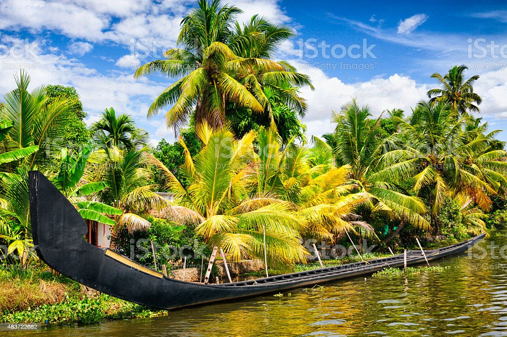 Traditional Snake Boat on the Kerala Backwaters in India stock photo