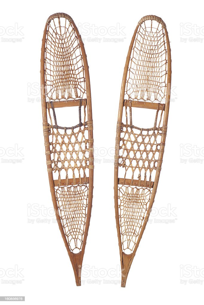 Traditional snowshoes isolated on white royalty-free stock photo
