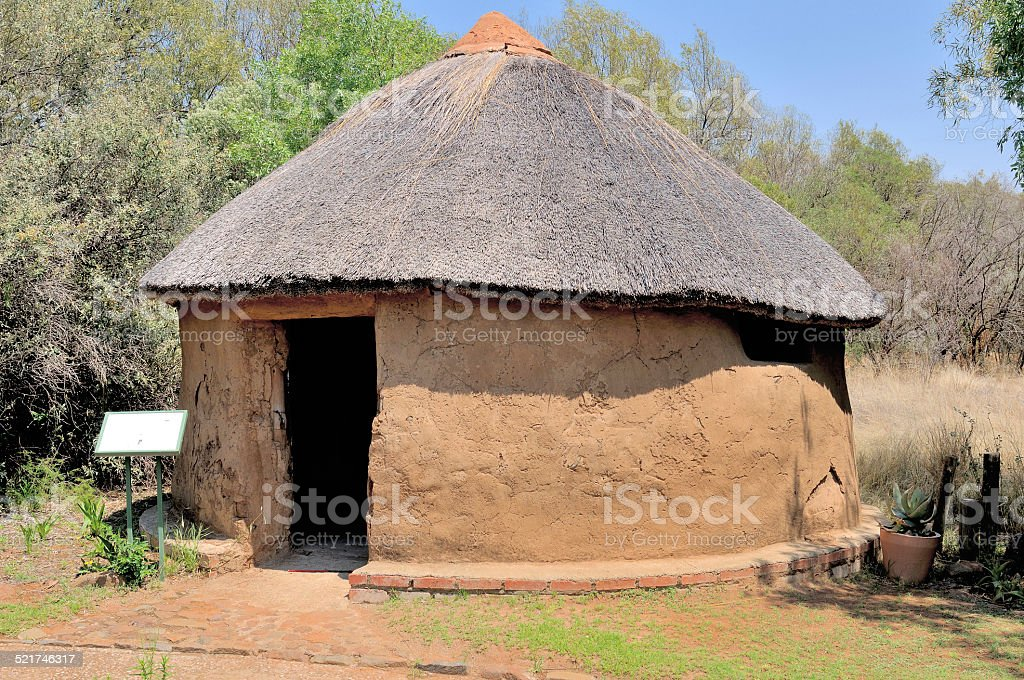 Traditional Sotho hut stock photo