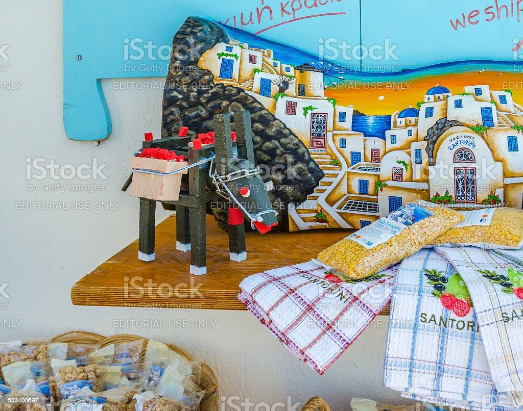 Traditional souvenirs of Oia town, Santorini island stock photo