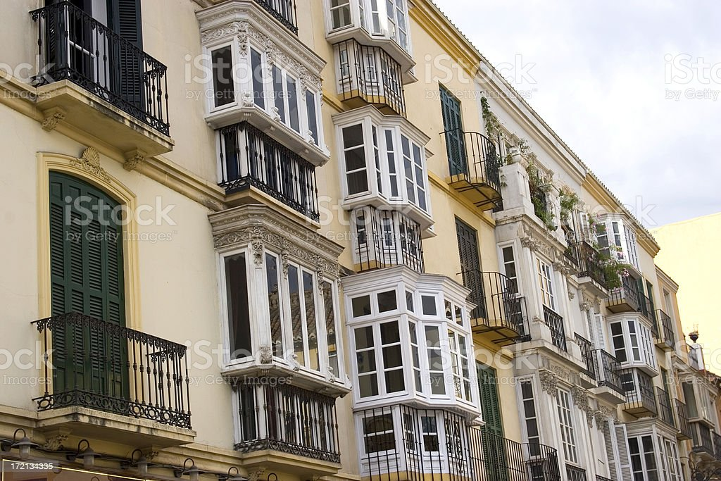 Traditional Spanish balconies, Malaga, Spain stock photo