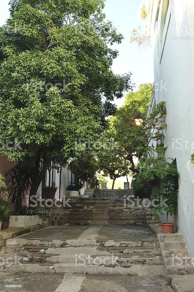 traditional Spanish cobblestone street royalty-free stock photo