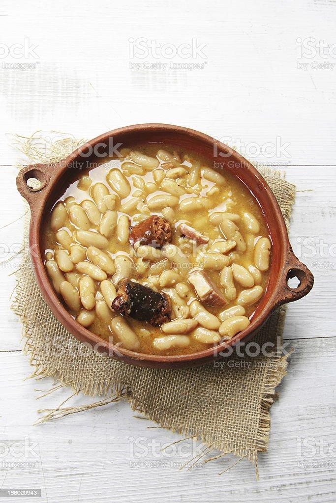 traditional spanish fabada stock photo