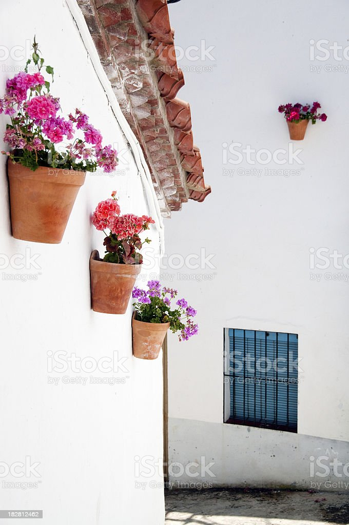 Traditional Spanish street with flowers on walls royalty-free stock photo