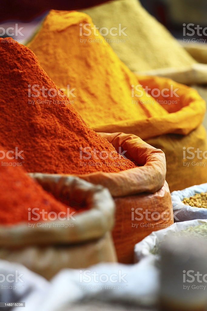 Traditional spices market in India. royalty-free stock photo