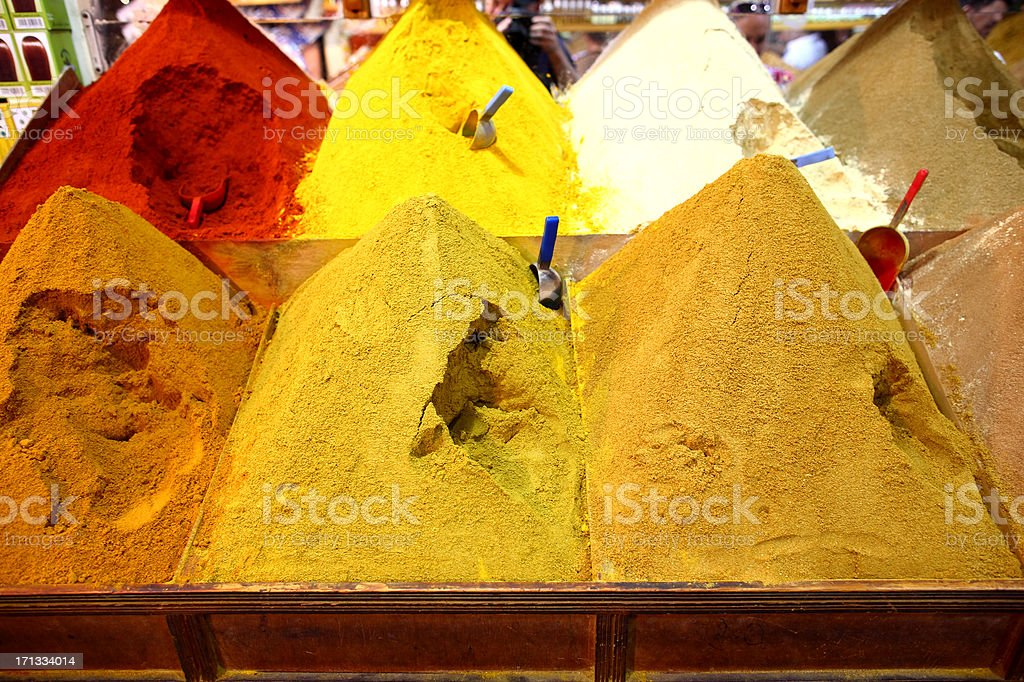 Traditional spices market in Morocco stock photo
