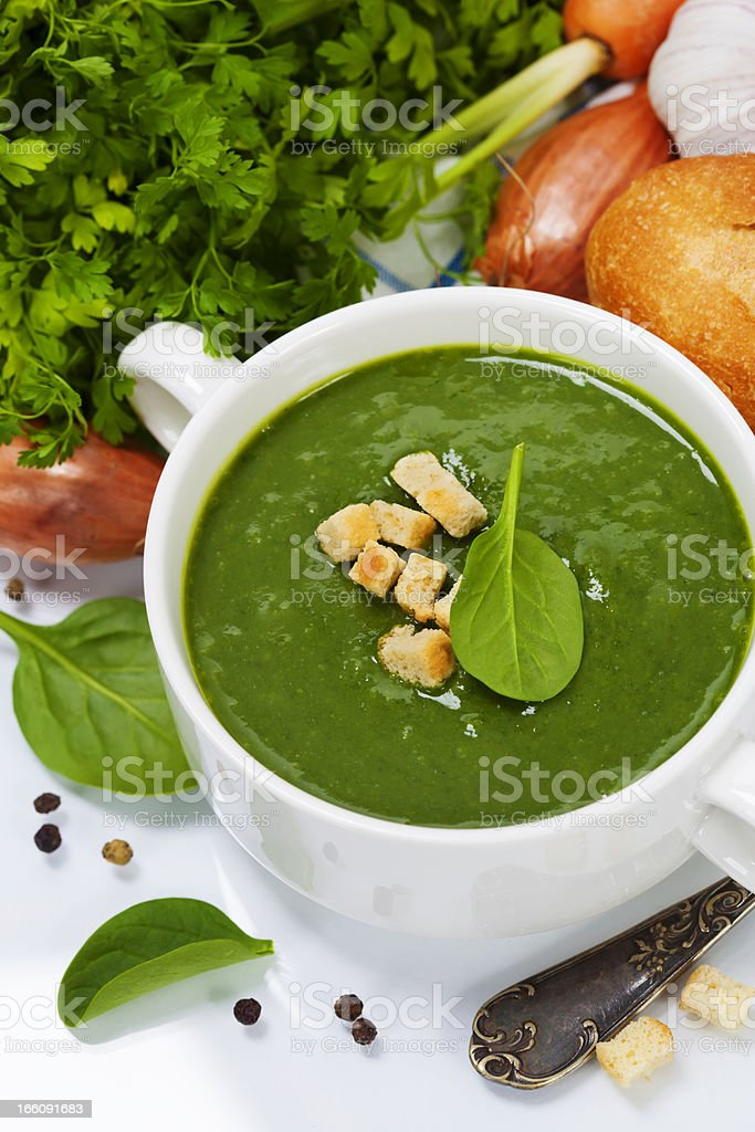 Traditional Spinach soup royalty-free stock photo