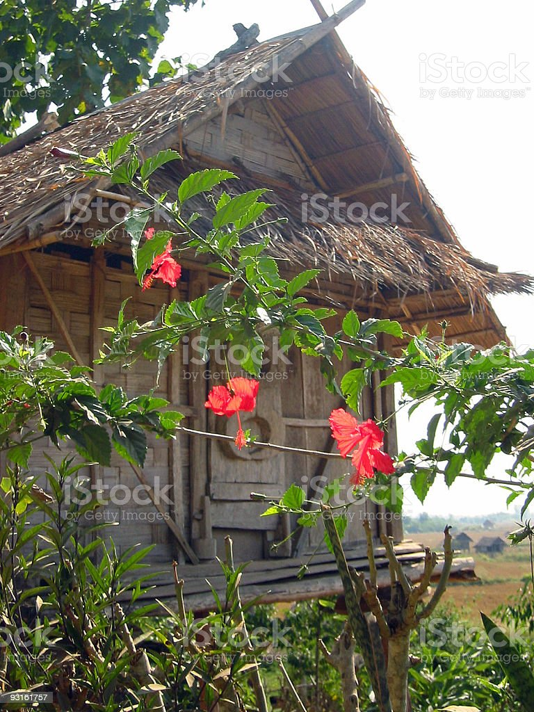 traditional spirit house laos royalty-free stock photo