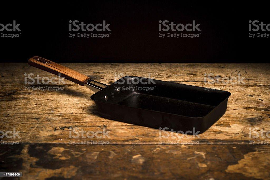 Traditional sqaure tamago frying pan royalty-free stock photo