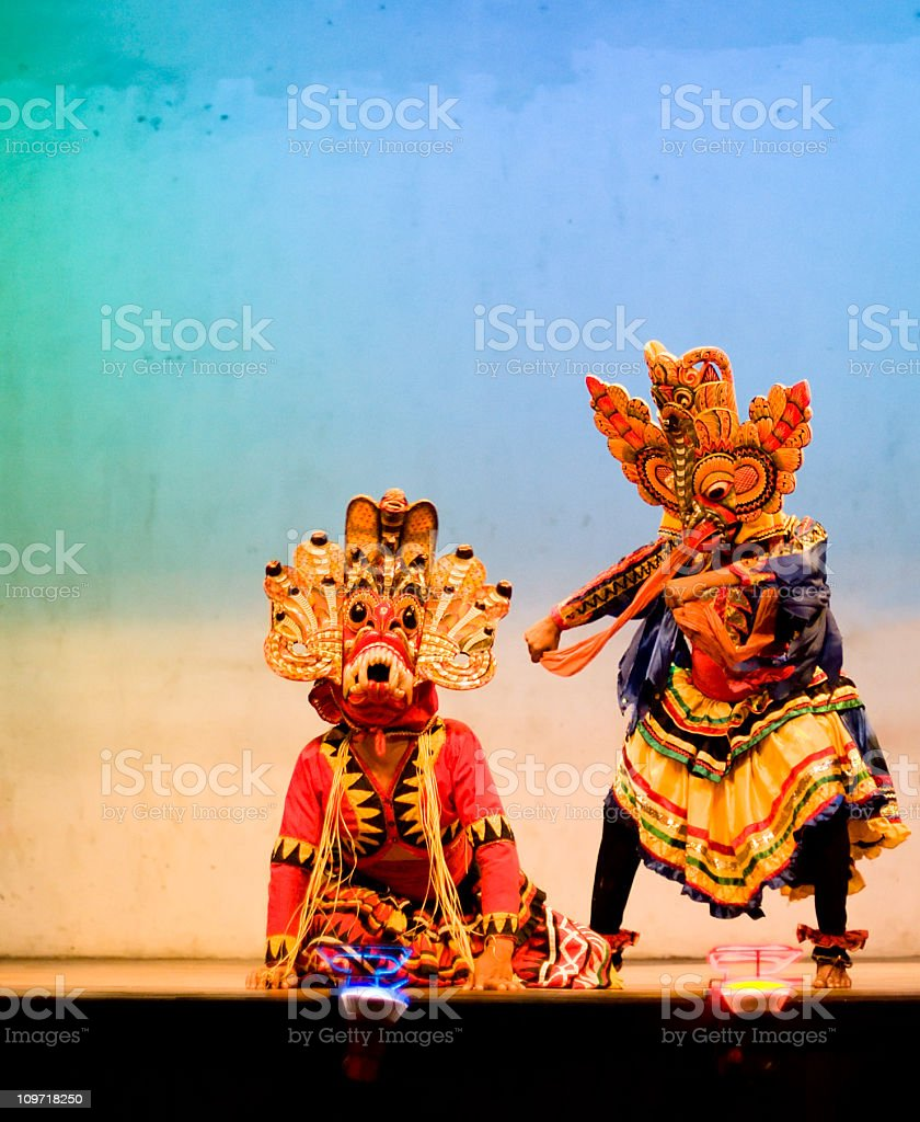 Traditional Sri Lanka Mask Dance royalty-free stock photo