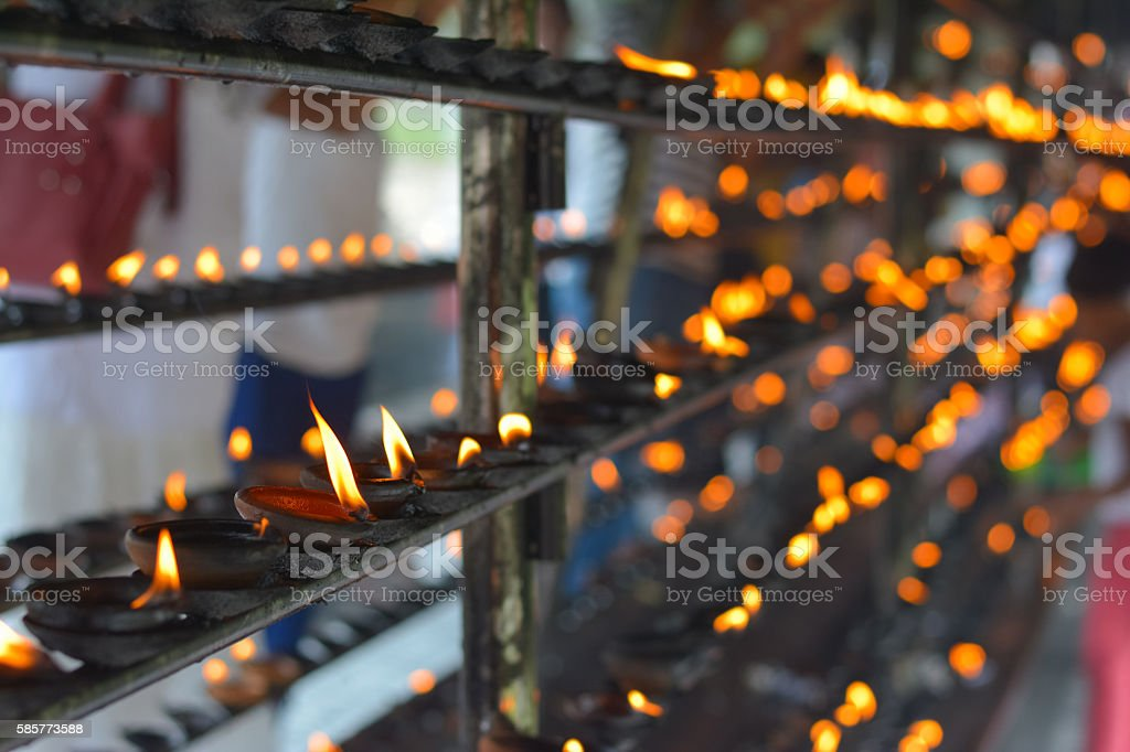 Traditional Sri Lankan Clay Oil Lamps stock photo