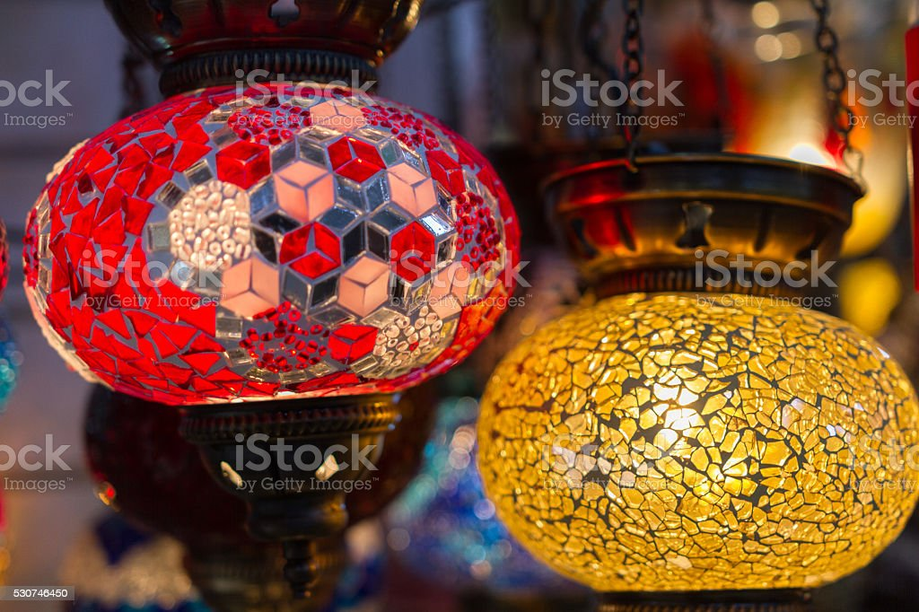 Traditional stained glass oriental lampshades stock photo