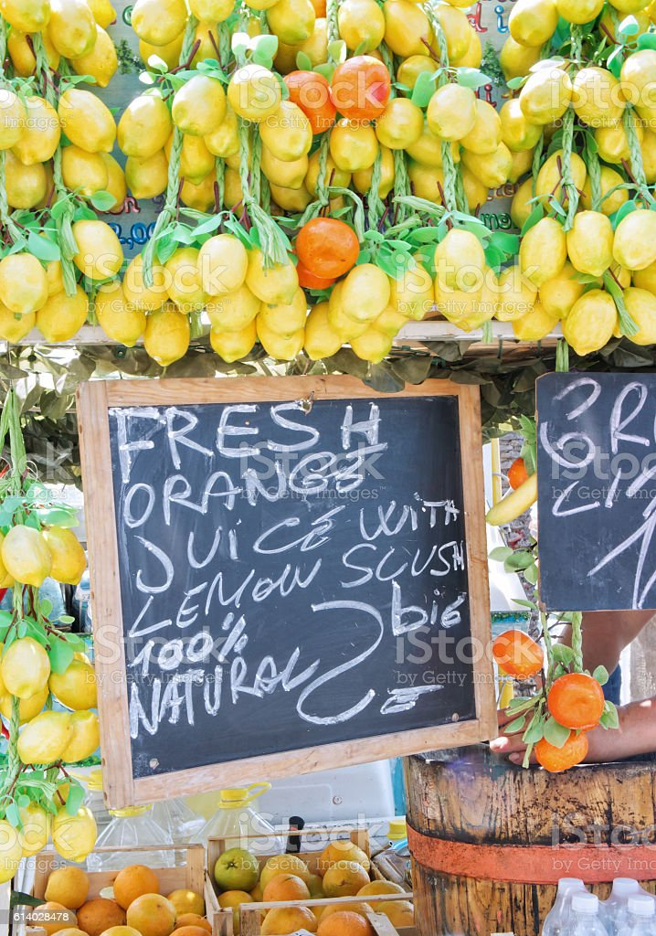 Traditional stall selling lemon sorbets stock photo
