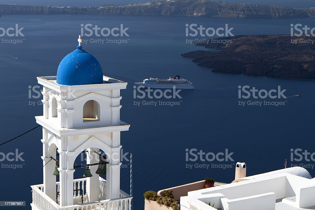 Traditional steeple at Santorini in Greece stock photo