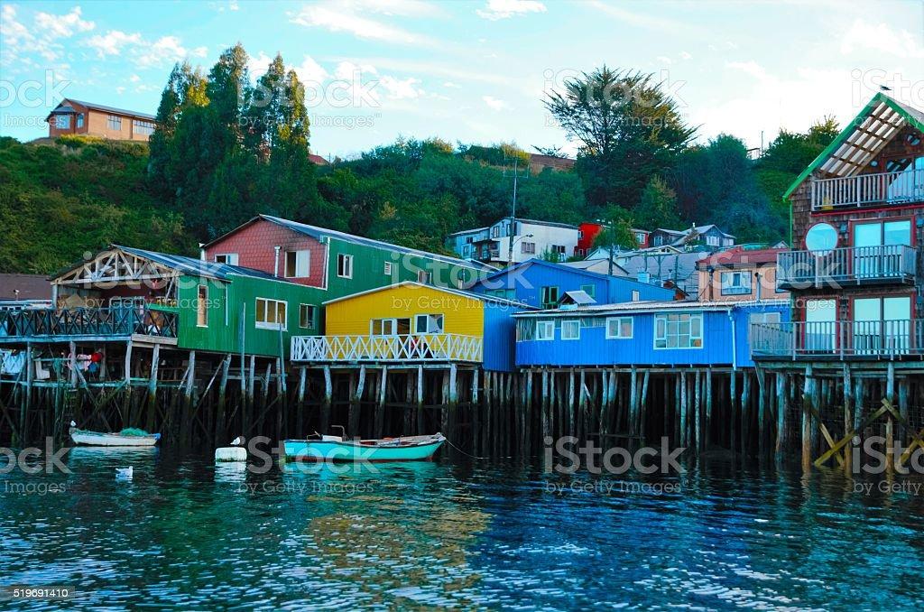 Traditional stilt houses in Castro stock photo