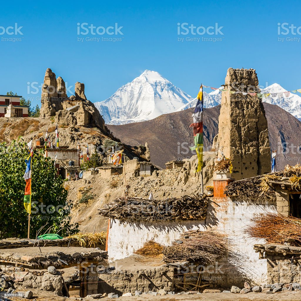 Traditional stone build village of Jhong. stock photo