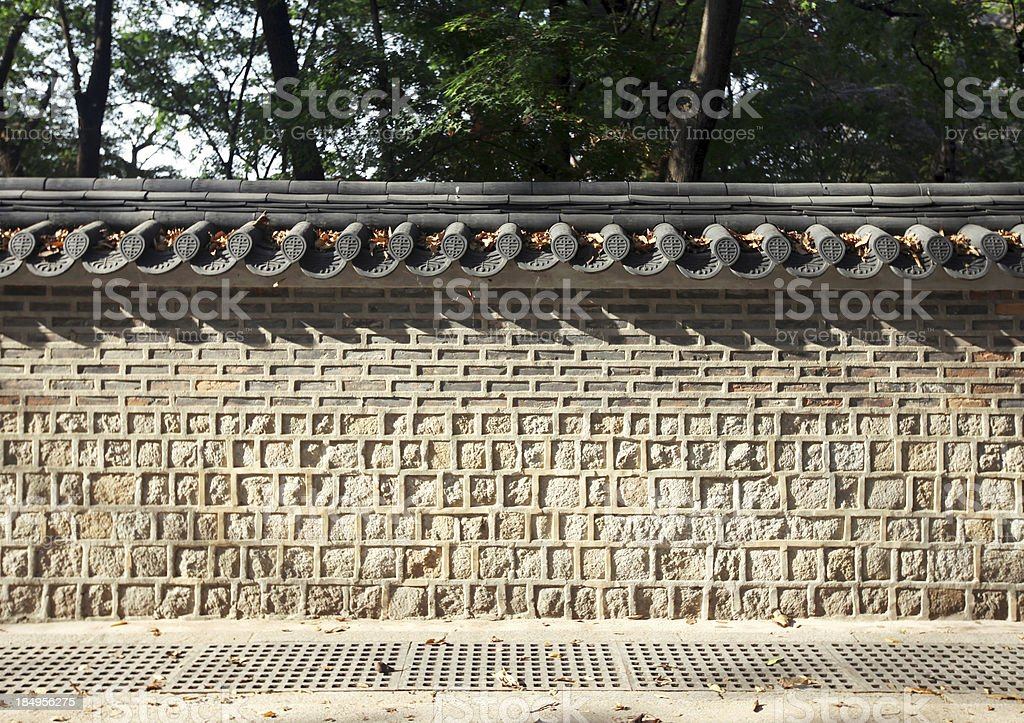 Traditional Stone Wall in Korea stock photo