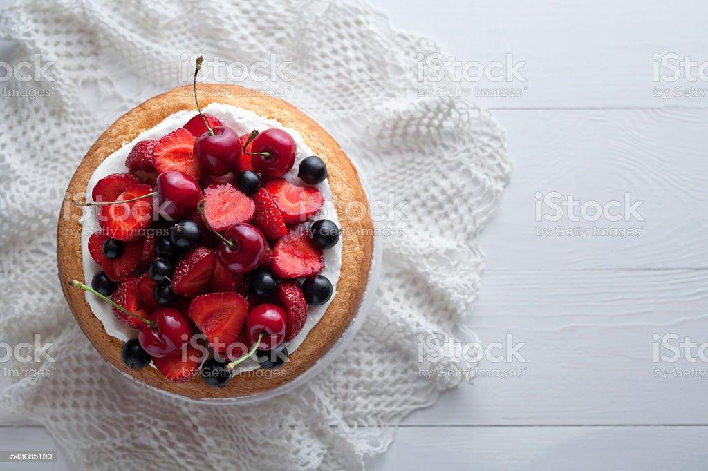Traditional strawberry cake homemade gourmet sweet dessert bakery food stock photo