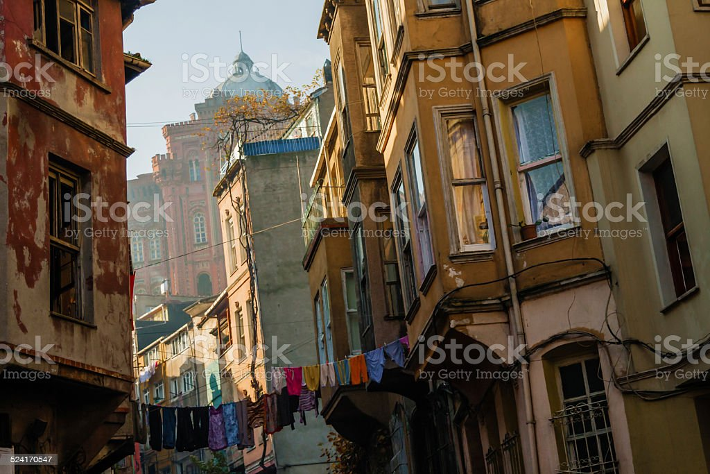 Traditional Street and Houses at Balat District stock photo