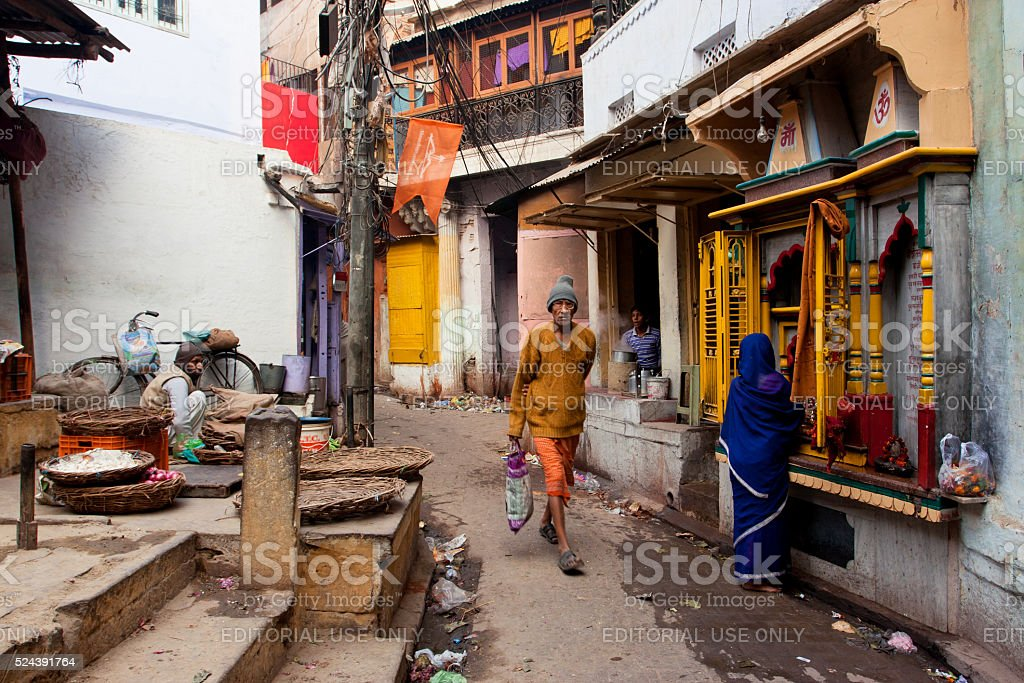 Traditional street life with a sellers stock photo