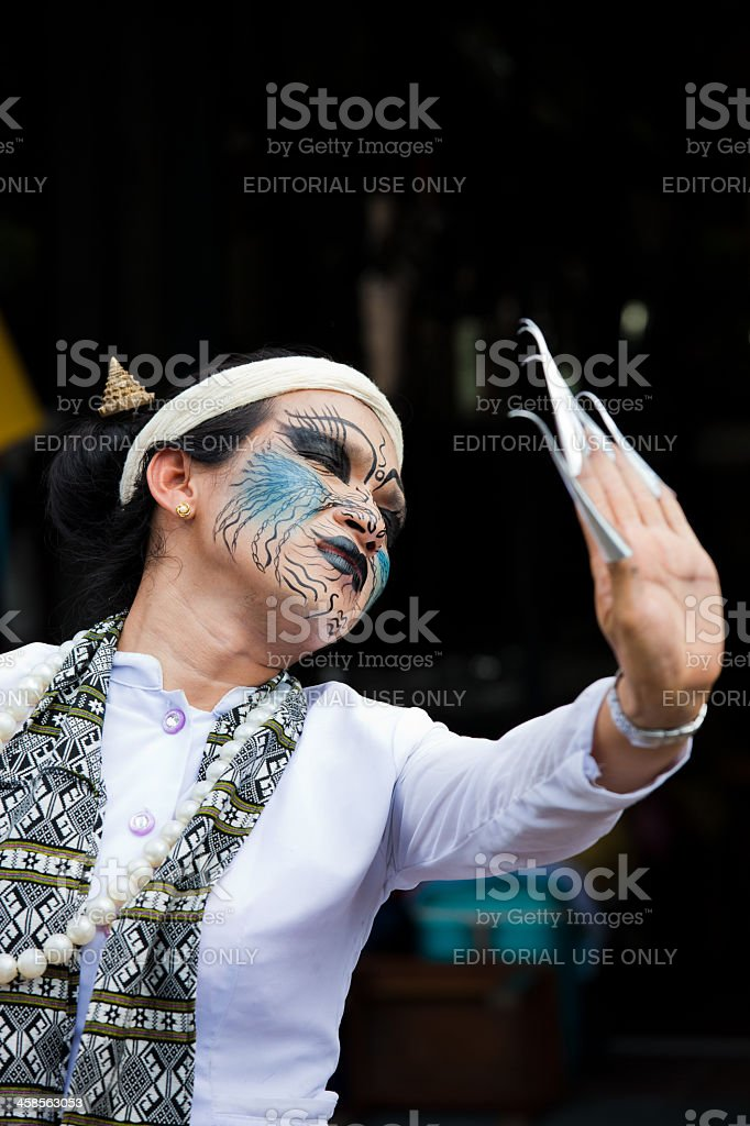 Traditional street performer in Thailand royalty-free stock photo