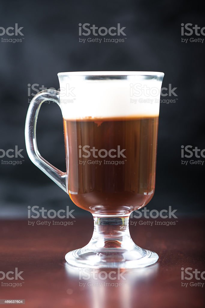 traditional strong irish coffee on wooden bar stock photo